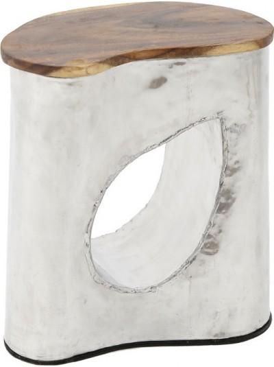 Σκαμπώ Αλουμινίου/Ξύλινο Ασημί INART Κωδικός: 3-50-329-0001 Διαστάσεις: 40Χ35Χ45 Εκατοστά