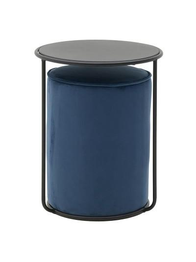 INART Σετ Βελούδινο Σκαμπώ Και Μεταλλικό Τραπεζάκι Νesting Μπλε/Μαύρο Χρώμα Κωδικός: 3-50-466-0056