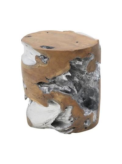 INART Ξύλινο Σκαμπώ Natural/Ασημί Κωδικός: 3-50-557-0018 Διαστάσεις: 35Χ40 Εκατοστά