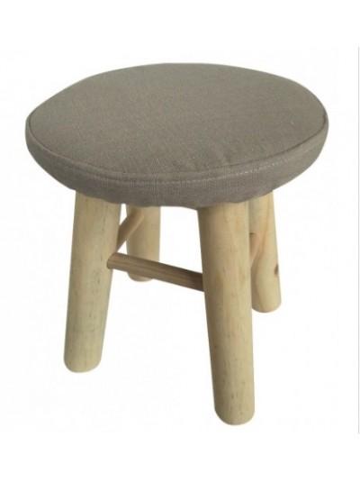 Σκαμπώ με Υφασμάτινο Κάθισμα και Ξύλινα Πόδια
