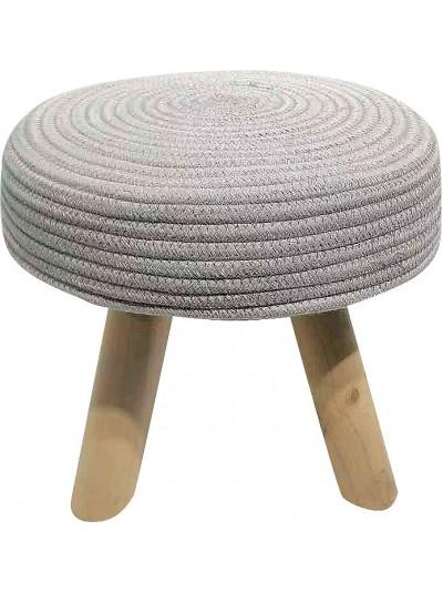Σκαμπώ με Υφασμάτινο Κάθισμα Άσπρο και Ξύλινα Πόδια Κωδικός: 33-950-2317W