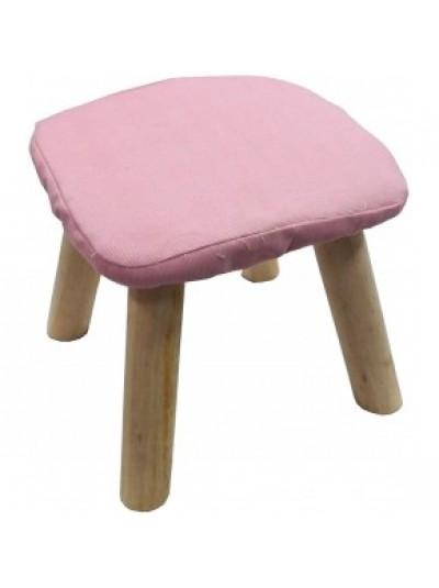 Σκαμπώ με Υφασμάτινο Κάθισμα Ροζ και Ξύλινα Πόδια Κωδικός: 33-950-2323pink