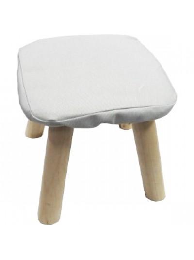 Σκαμπώ με Υφασμάτινο Κάθισμα Άσπρο και Ξύλινα Πόδια Κωδικός: 33-950-2323W