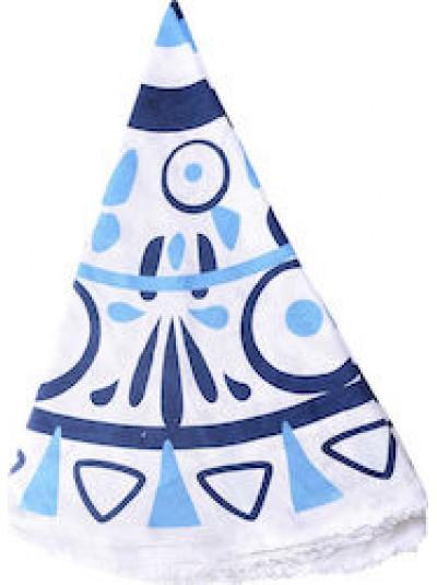 Πετσέτα θαλάσσης στρογγυλή λευκή/μπλε INART Κωδικός: 5-46-550-0009  Διαστάσεις: 160Χ160 Εκατοστά