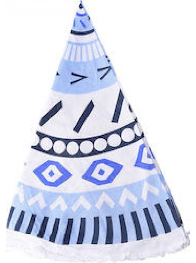 Πετσέτα θαλάσσης στρογγυλή λευκή/μπλε INART Κωδικός: 5-46-550-0010  Διαστάσεις: 160Χ160 Εκατοστά