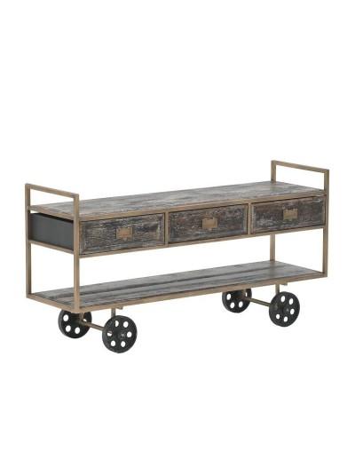 INART Τραπέζι Σαλονιού Ξύλινο/Μεταλλικό Χρυσό-Καφέ 120Χ36Χ62εκ Κωδ: 3-50-092-0132 3-50-092-0132