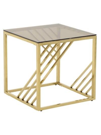 Τραπέζι Σαλονιού INART Μεταλλικό Χρυσό Κωδικός: 3-50-529-0020 Διαστάσεις: 55Χ55Χ55 Εκατοστά