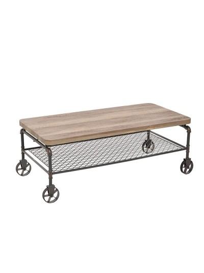Τραπέζι Σαλονιού Ξύλινο Και Μεταλλικό INART Κωδικός: 3-50-569-0004   Διαστάσεις: 120Χ59Χ45 Εκατοστά