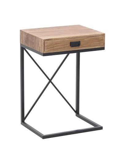 INART Μεταλλικό-Ξύλινο Βοηθητικό Τραπέζι Μαύρο-Natural Κωδικός: 3-50-861-0069