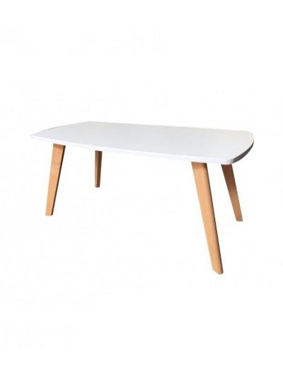 Τραπέζι Σαλονιού από Λευκή Επιφάνεια Ξύλου MDF και Πόδια από Μασίφ Ξύλο Κωδικός: 33-950-2189 Διαστάσεις: 43Χ100Χ51 Εκατοστά