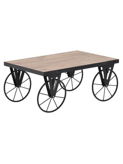 INART Τραπέζι Σαλονιού ξύλινο/μεταλλικό natural/μαύρο Διαστάσεις: 90x60x42 6-50-687-0003 6-50-687-0003