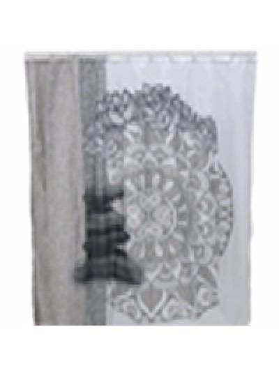 INART Κουρτίνα Μπάνιου Υφασμάτινη Λευκή Με Σχέδιο Κωδικός: 6-40-508-0001 Διαστάσεις: 180Χ200 Εκατοστά