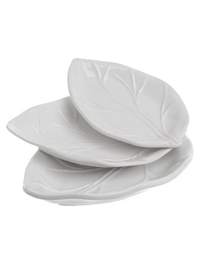 """INART Σετ 3 Πιατέλες """"Φύλλο"""" Κεραμικές Λευκές Κωδικός: 6-60-022-0035"""