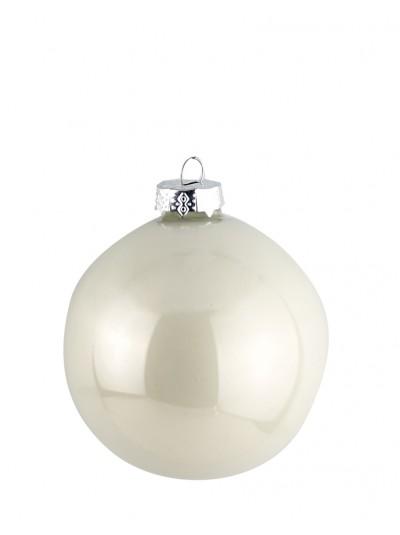 Γυάλινη Μπάλα Λευκή Περλέ 10 Εκατοστά