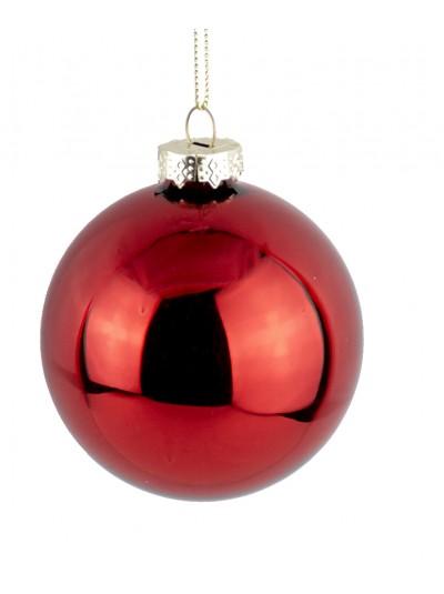 Γυάλινη Μπάλα Κόκκινη Γυαλιστερή 10 Εκατοστά