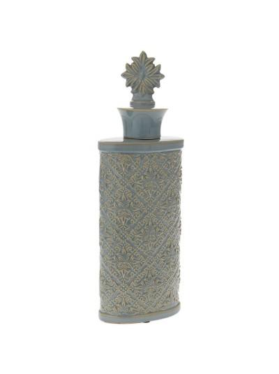 Κεραμικό Bάζο σε Γαλάζια / Κρεμ Απόχρωση με Καπάκι 15X9X45 Εκατοστά