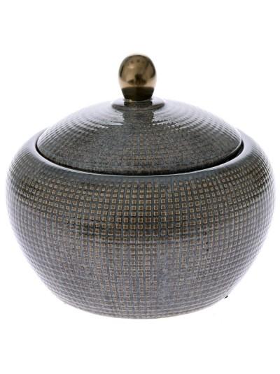 Κεραμικό Βάζο Γκρι με Καπάκι 23Χ19 Εκατοστά