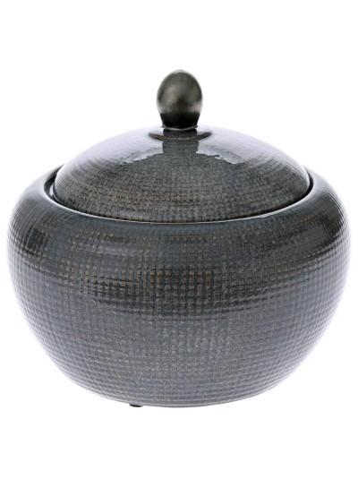 Κεραμικό Βάζο Γκρι με Καπάκι  27Χ24 Εκατοστά